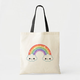 Kawaii Rainbow Clouds Tote Bag