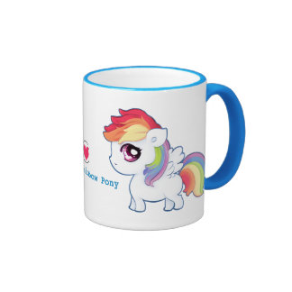 Kawaii rainbow pony - Personalized Coffee Mugs