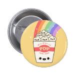 Kawaii Rainbow Popcorn 6 Cm Round Badge