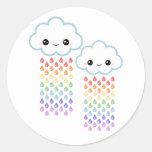 Kawaii Rainbow Rain Round Sticker