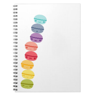 Kawaii Rainbow stacked Macarons Spiral Notebook