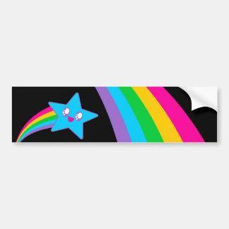 Kawaii Rave Neon Star Rainbow Bumper Sticker