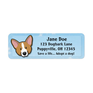 Kawaii Red Cardigan Welsh Corgi Return Address Label