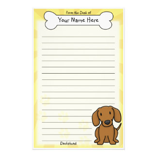 Kawaii Red Dachshund Stationery