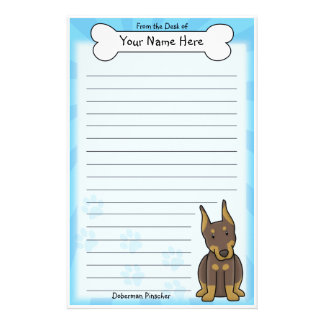 Kawaii Red Doberman Pinscher Stationery