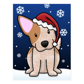 Kawaii Red Heeler Christmas Postcard