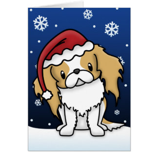 Kawaii Red & White Japanese Chin Christmas Card