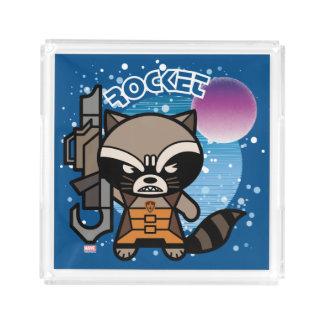 Kawaii Rocket Raccoon In Space Acrylic Tray