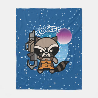 Kawaii Rocket Raccoon In Space Fleece Blanket