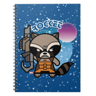 Kawaii Rocket Raccoon In Space Spiral Notebook