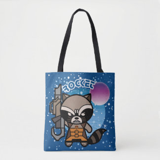 Kawaii Rocket Raccoon In Space Tote Bag