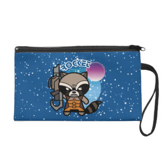 Kawaii Rocket Raccoon In Space Wristlet