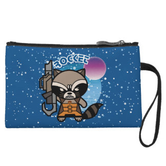 Kawaii Rocket Raccoon In Space Wristlet