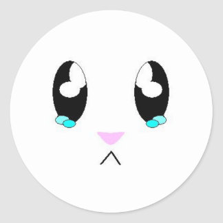 Kawaii Sad Bunny Face Round Sticker