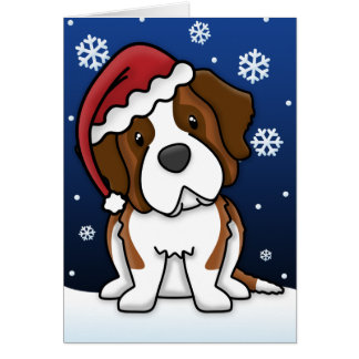 Kawaii Saint Bernard Christmas Card