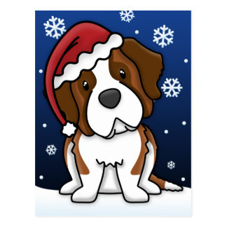 Kawaii Saint Bernard Christmas Postcard