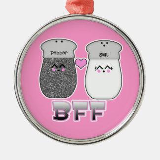 Kawaii Salt n Pepper BFF Silver-Colored Round Decoration