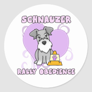 Kawaii Schnauzer Rally Obedience Classic Round Sticker