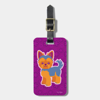 Kawaii Short Hair Yorkie Cartoon Dog Luggage Tag