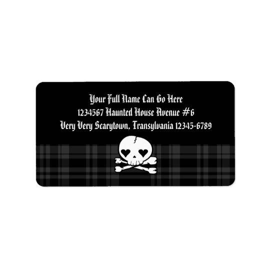 Kawaii Skull & Black Plaid Address Label