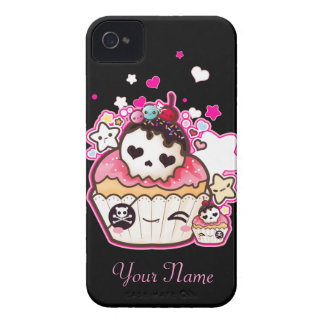 Kawaii skull cupcake with stars and hearts iPhone 4 cover