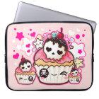 Kawaii skull cupcake with stars and hearts laptop sleeve