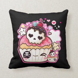 Kawaii skull cupcake with stars and hearts throw pillow
