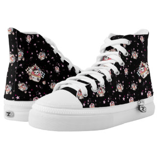 Kawaii skull cupcakes printed shoes