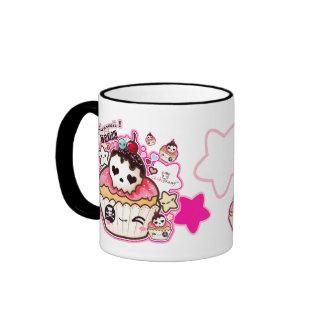 Kawaii skull cupcakes with stars and hearts mugs