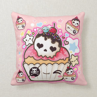 Kawaii skull cupcakes with stars and hearts throw pillow