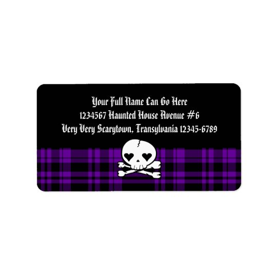Kawaii Skull & Purple Plaid Label