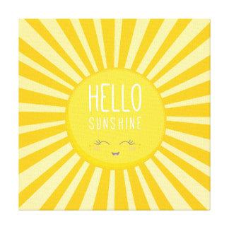 KAWAII SKY bright bold yellow smiling sun sunshine Gallery Wrap Canvas