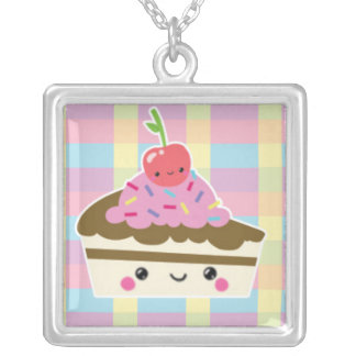 Kawaii Slice of Cake on Colorful Checks Square Pendant Necklace