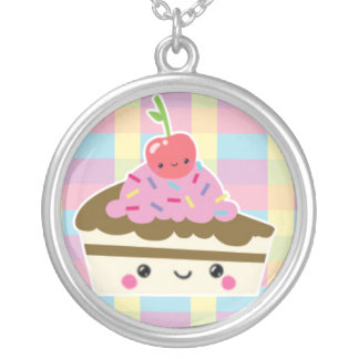 Kawaii Slice of Cake on Colorful Checks Round Pendant Necklace