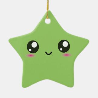 Kawaii smiley star - green ceramic star decoration