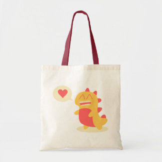 Kawaii smiling Dino talking about love Tote Bag