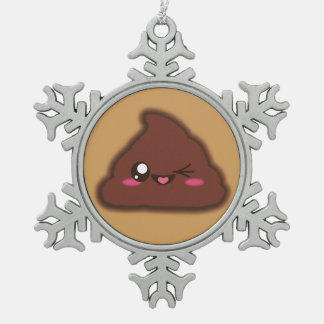 Kawaii smiling poop snowflake ornament