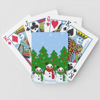 Kawaii Snowman Bicycle Playing Cards