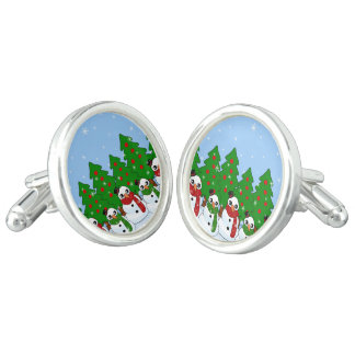 Kawaii Snowman Cuff Links