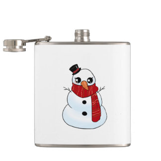 Kawaii Snowman Hip Flask