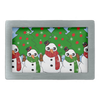 Kawaii Snowman Rectangular Belt Buckle