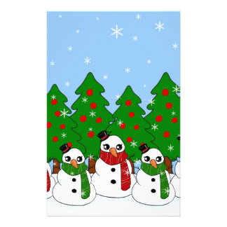 Kawaii Snowman Stationery