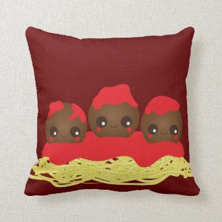 Kawaii Spaghetti & Meatballs  Throw Pillow
