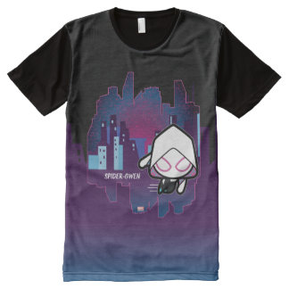 Kawaii Spider-Gwen City Skyline All-Over Print T-Shirt