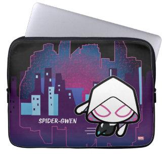 Kawaii Spider-Gwen City Skyline Laptop Sleeve