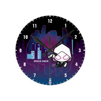 Kawaii Spider-Gwen City Skyline Round Clock
