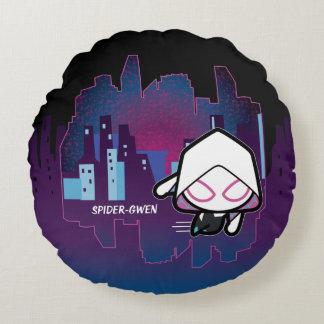 Kawaii Spider-Gwen City Skyline Round Cushion