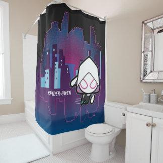 Kawaii Spider-Gwen City Skyline Shower Curtain