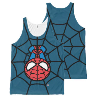 Kawaii Spider-Man Hanging Upside Down All-Over Print Singlet