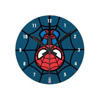 Kawaii Spider-Man Hanging Upside Down Round Clock